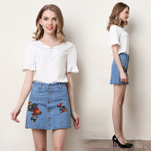 New 2017 vintage denim skirts for women Fashionable stylish stylish popular summer skirt with embroidery florets and buttons