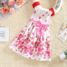 Kids Girls Sleeveless Dresses Princess Floral Bowknot Party Dress Sundress 2-6 Y