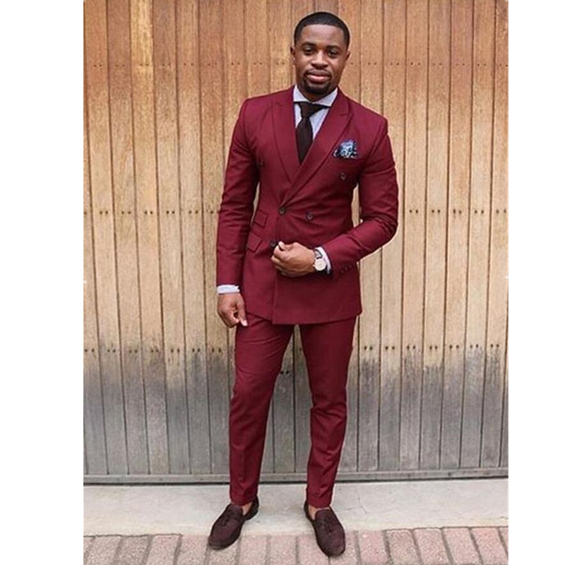 New Arrival Burgundy Double Breasted Tuxedo Skinny Men Suit Slim Fit 2 Piece Prom Suits Custom Groom Blazer (Jacket+Pants)