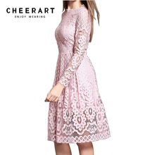 cheerart High Quality Women Bohemian White Lace Autumn Crochet Casual Long Sleeve Plus Size Pink/White/Black/Red Dress Clothing