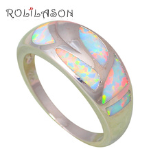 Brand Design Birthday Gifts New Arrival White Fire Opal Silver Stamped Wholesale Fashion Jewelry Rings USA size #6#7#8#9 OR774