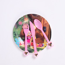 10pcs Masha and bear Disposable Knife Forks Spoons Kid Boy Birthday Party supplier Cartoon Theme party decoration