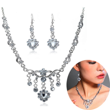 Unique Stone Earrings Necklace fashion Jewelry Set Wedding Party Crystal Rhinestone Earrings Necklace for women party gifts lady