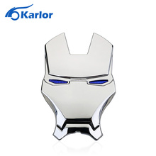 3D Chrome Metal Iron Man Car Emblem Stickers Logo Decoration The Avengers Car Styling Decals Exterior Accessories Silver Gold