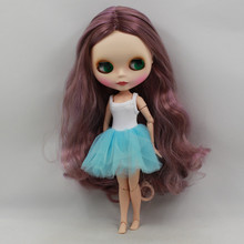 Factory Blyth Doll Nude Doll Grape Purple Wavy Hair Joint Body Matte Face Red Mouth  4 Colors For Eyes Suitable For DIY