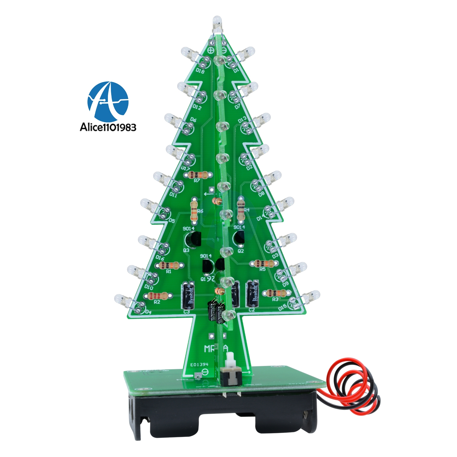 3D Xmas Tree 7 Color Light Flash LED Circuit Christmas Trees LED Diy Kit Electronic PCB Board Module DC 4.5V-5V(China)