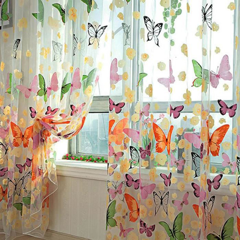 Butterfly Tulle Curtain Valances Decor Yarn-Fabric Glass Window-Drapes Romantic Bedroom title=