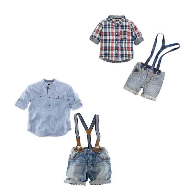 Free shipping children clothing set boy sling strap denim suit clothes kids hawaiian shirts, short sleeve shirts boys YAZ035F<br><br>Aliexpress
