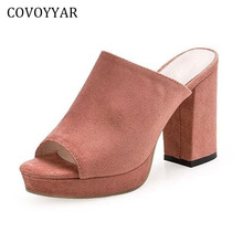 COVOYYAR Fashion Peep Toe Women's Sandal Mules 2018 Summer Thick Heel Flock Ladies Sandals Platform Women Shoes WSS778(China)