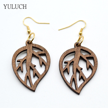 Good Quality Woman Earrings African Wood Earrings Jewelry 2017 New Design Pattern Leaf Girls Personality Hollow Latest 1 Pair(China)