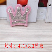 Free shipping baby clothes pink crown logo patch cute iron on patches for clothing fashion fabric DIY