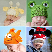 Kids Beanies Lovely Crochet Pattern Baby Hat Children Funny Winter Hats Handmade Knitted Toddler Animal Cap 10pcs SG035
