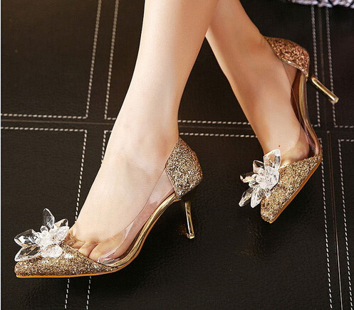 2015 New Spring And Summer Silver Pointed High-heeled Woman Stiletto Wedding Shoes Gold Butterfly Pumps<br><br>Aliexpress
