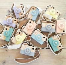 6 colors Lovely Cute Wooden Cameras Toys For Baby Kids Room Decor Furnishing Articles Child Birthday Gifts Nordic European Style
