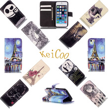 Brand Painted Mobile Phone Covers For Apple iPhone 5SE Book Flip PU Leather Cases For iPhone5SE Wallet 2 Card Slots Full Protect(China)