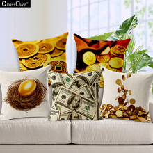 Thickened cotton linen cushions cover fortune pillow dollars gold pattern sofa car gift throw pillowcases