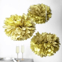 Mixed Size Gold Silver Chinese Tissue Paper Artificial Flower Balls Wedding Decoration Crafts Party Home Festive Events Supplies