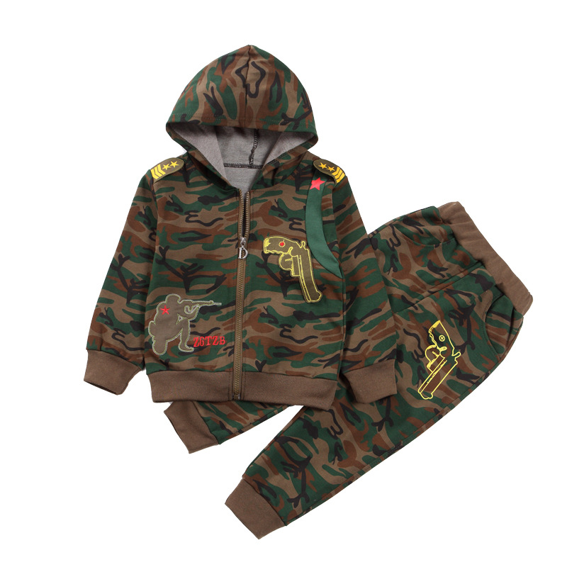 Boys Camouflage Sports Suits Hooded Children Clothing Sets Autumn Spring Kids Tracksuits Teen Boy Sportswear 5 6 8 10 12 14Years<br>