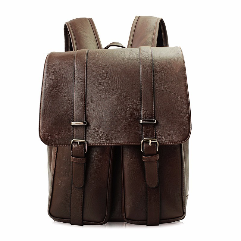 fashion Simple Large Capacity Mens Leather Backpack For Travel Casual Men Daypacks Leather Travle Backpack mochila<br>