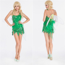 Tinker Bell Cosplay Tinkerbell Dress Green Fairy Pixie cosplay Adult Costume Halloween Role Play Fancy Dress