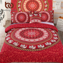 BeddingOutlet 5pcs Bed in a Bag Bedding Set Queen Elephant Print Duvet Cover Set USA Size Mandala Pattern Red Bedspread(China)