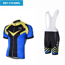 sky cycling 2017 Pro team summer bib Short Sleeve Cycling Jersey Sets Mtb Bicycle Clothing Road Bike Sportswear for Men