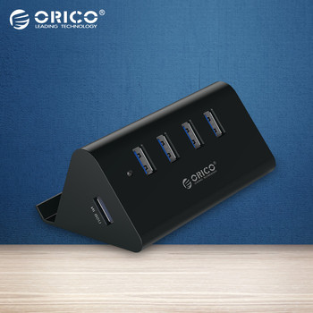 ORICO SHC-U3 ABS High Speed Mini 4 ports USB 3.0 HUB with Phone Tablet  Holder - Black/White