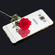 Luxury Gold Plating Armor Aluminum Frame + Mirror Acrylic Case for Samsung Galaxy Grand Prime G5308 G530H G5308W Back Cover