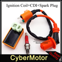 Performance Racing Ignition Coil 6 Pin AC CDI Box A7TC Spark Plug Fit Chinese GY6 50cc 125cc 150cc Engine Moped Scooter