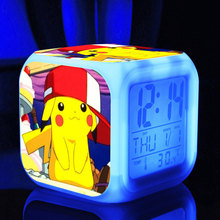 Game pikachu colors Ledclock touch light action toys figures little yellow people Dave Stuart action figures for Christmas gift