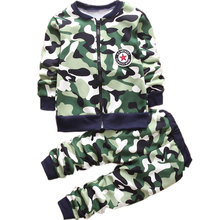 Autumn Winter Children Woolen Warm Camouflage Clothes Set Kids Boys Woolen Coat Sweatershirt Pants 2pcs Christmas Outfits Set