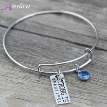 Anslow Brand 2017 New Design English Words Strong Is Beautiful Bracelet&Bangle Christmas Valentine's Day Free Shipping BN0081AN