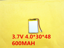 (10pieces/lot) 3.7V 043048 600mah lithium-ion polymer battery quality goods quality of CE FCC ROHS certification authority(China)