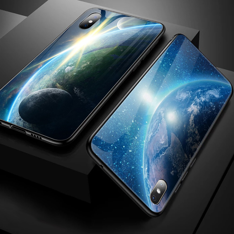 TOMKAS Luxury Space Cover Case for iPhone X Xs Max Xr Xs Glass Silicone Phone Case for iPhone 7 8 Plus Cases for iPhone 6 S 6s (32)