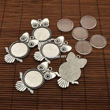 25x4.5mm Dome Transparent Glass Cabochons and Antique Silver Owl Alloy Pendant Cabochon Settings for DIY, Cadmium Free & Nickel