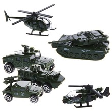 6Pcs 1:87 Scale Car Military Military Engineering Aircraft Vehicle Kid Toy Model