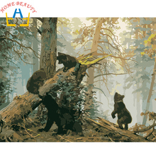 New home decor pictures on canvas diy oil painting by numbers drawing nodular pictures one the wall art animals black bear Y016