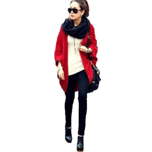 2017 Women Sweater Coat  Loose Shawl Batwing Sleeves Lady Knit Sweater Coat Woolen Female Cardigans Red/Black Free Size