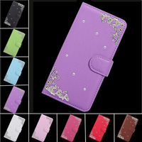 Palace Flower Tower Design Diamond PU Leather Cover For Alcatel U5 Case,Flip Wallet Phone Bags Cases Fundas