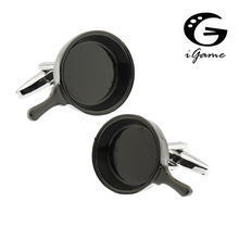 iGame Fashion Cufflinks Novelty Black Pan Design Quality Brass Material Best Gift For Men Free Shipping(China)