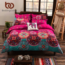 BeddingOutlet Bedding Set Magenta Bedspreads for Wedding Duvet Cover Set Noble Personality Bed Linen Home 4Pcs Twin Queen