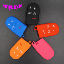 Xinyuexin Silicone Car Key Cover Case For Jeep Wrangler Grand Cherokee Compass Longitude Patriot For Dodge Key Jacket Car-stying(China)