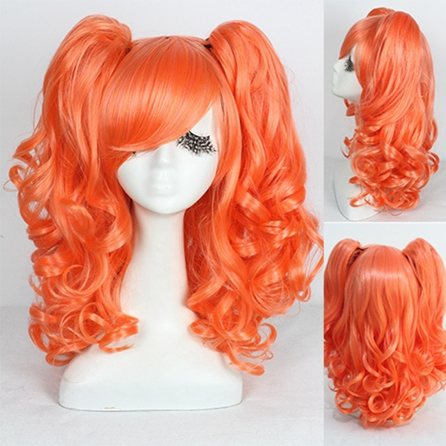 Hot Sale 45cm Medium Orange Red Wave Lolita Cosplay Wig Two Ponytail Wigs<br><br>Aliexpress
