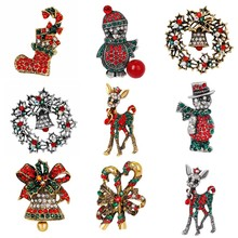 New Year Gift Christmas Series Brooch Corsage Boots Snowman Deer Rhinestone Brooch Jewelry Christmas Tree Multi-style Brooch