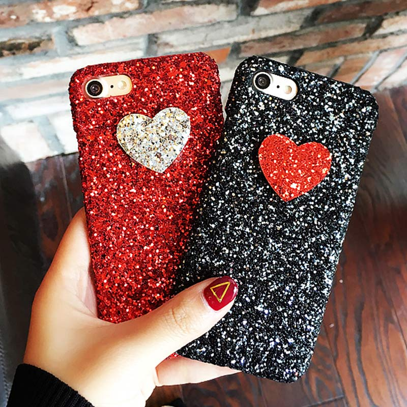 Korea Lovely Hearts Bling Glitter Powders Cases iPhone 6 6S 6plus 6Splus 7 7plus hard Sequins Hard Case Funda Capa Coque
