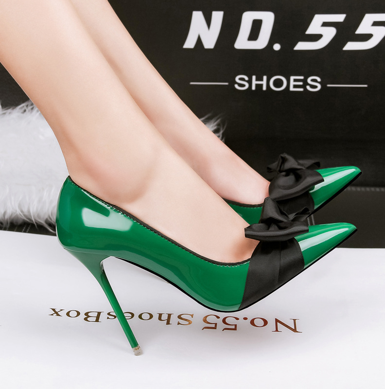 New Spring Women High Heels Shoes Sweet  Bow Pointed Shallow  Thin Heels High-heeled Shoes G762-2<br><br>Aliexpress