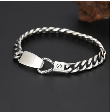 mens jewellery 100% real 925 silver bracelet 7mm 19cm man bracelets 2019