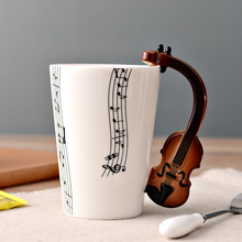 New Creative Handgrip Violin Ceramic Cup Personality Music Note Sensitive Mug Cup Coffee Tea Milk Cup Unique Gift Cafe 250ml