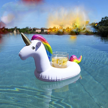10pcs/Set Mini Unicorn Inflatable Cup Holder Drink Floating 2017 Newest Party Beverage Boats Phone Stand Holder Pool Toys