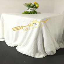 9FT Rectangle Sequin Tablecloth Embroidered Sequin Table Cloth White Table Linens for Wedding Decoration-a(China)